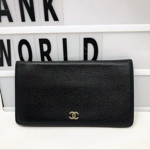 Chanel Small CC leather black bifold Long wallet
